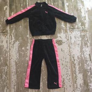 Puma pink and black sweatshirt and pants